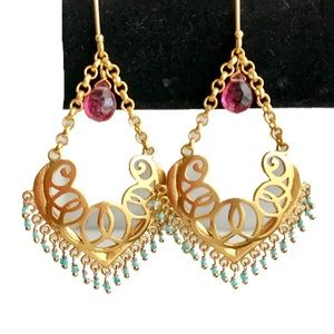 💄Boutique Handmade Gold Plated Dangle Earrings